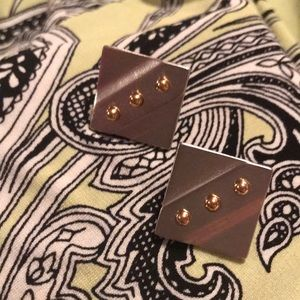 Monet silver and gold square clip earrings
